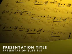 royalty free music powerpoint template in yellow, Powerpoint templates