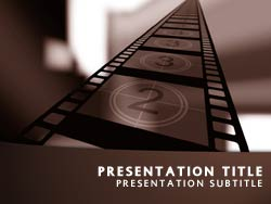 royalty free movie powerpoint template in orange, Modern powerpoint