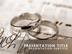 royalty free wedding rings powerpoint template in orange, Powerpoint templates