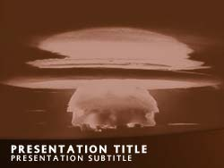 Royalty free nuclear bomb explosion powerpoint template in orange nuclear bomb explosion title master slide design maxwellsz