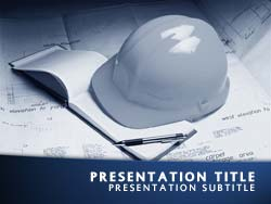 royalty free construction powerpoint template in blue, Powerpoint templates
