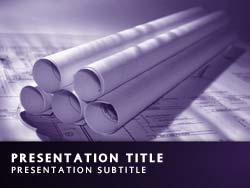 royalty free engineering plans powerpoint template in purple, Powerpoint templates