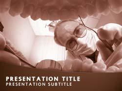 royalty free dentist examining teeth powerpoint template in orange, Modern powerpoint