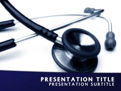 royalty free stethoscope powerpoint template in blue, Powerpoint templates
