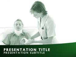 royalty free hospital nurse powerpoint template in green, Powerpoint templates