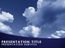 royalty free clouds and sky powerpoint template in blue, Modern powerpoint