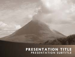 royalty free volcano powerpoint template in orange, Powerpoint