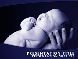 royalty free new born baby powerpoint template in blue, Modern powerpoint