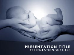 royalty free baby powerpoint template in blue, Modern powerpoint