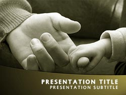 royalty free baby holding finger powerpoint template in yellow, Modern powerpoint