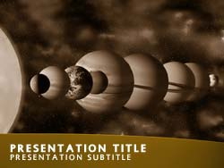 royalty free solar system powerpoint template in orange