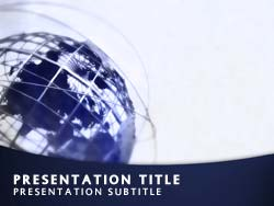 Royalty free world globe powerpoint template in blue world globe title master slide design toneelgroepblik Choice Image