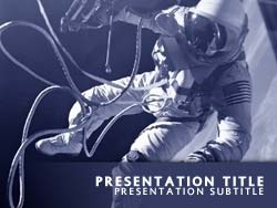 royalty free astronaut powerpoint template in blue, Presentation templates