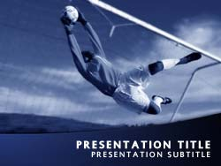 royalty free soccer goalkeeper powerpoint template in blue, Powerpoint templates