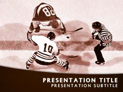 royalty free ice hockey powerpoint template in orange, Templates