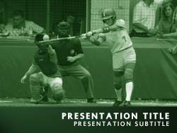 royalty free softball powerpoint template in green