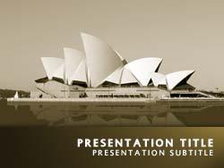 Royalty free sydney opera house australia powerpoint template in yellow sydney opera house australia title master slide design toneelgroepblik Image collections