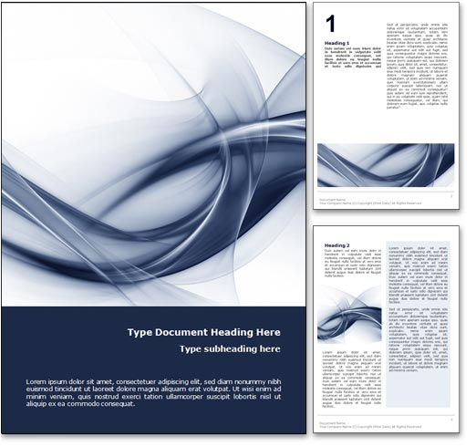 royalty free abstract curves microsoft word template in blue