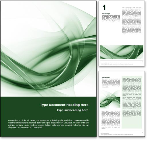Book Cover Template Microsoft Word ~ Royalty free abstract curves microsoft word template in green