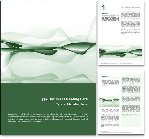 Royalty Free Abstract Ocean Microsoft Word Template In Green – Free Word Design Templates