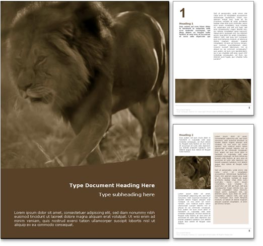 Lion word template document