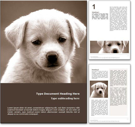 royalty free puppy dog microsoft word template in orange