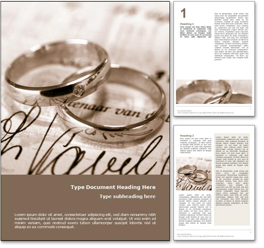Page layouts of the Wedding Rings Word template design