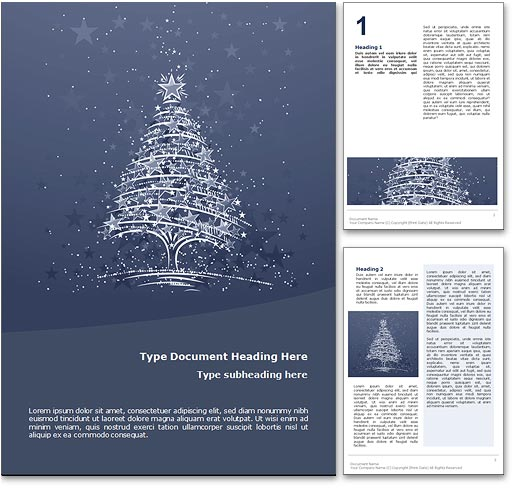 Royalty free christmas microsoft word template in blue for Free christmas templates for word