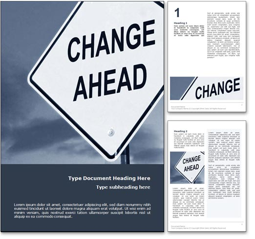 Royalty free change management microsoft word template in blue for Documents for change management