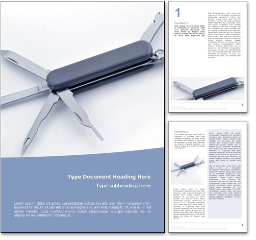 Royalty Free Swiss Army Knife Microsoft Word Template In Blue