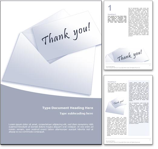Royalty Free Thank You Microsoft Word Template In Blue
