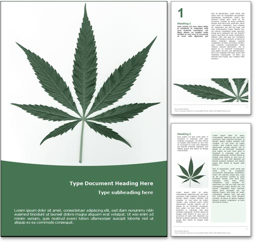 The Marijuana Word Template In Green for Microsoft Word.