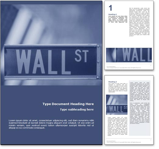 Royalty free wall street ny microsoft word template in blue - Photo wall display template ...