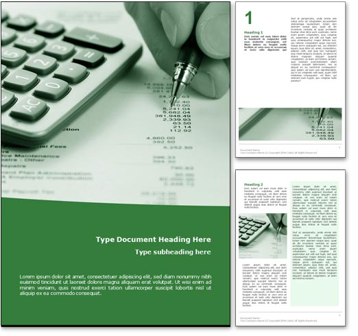 Royalty Free Accounting Microsoft Word Template In Green – Cover Page Template Word Free