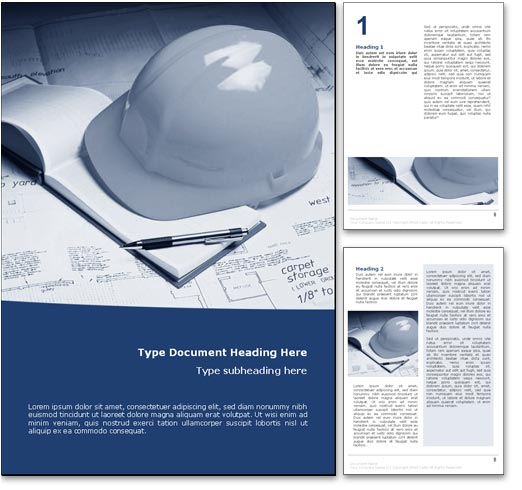 royalty free construction microsoft word template in blue