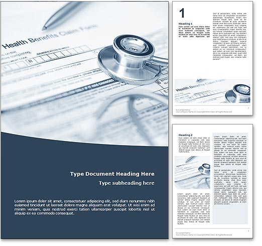 Royalty Free Health Insurance Microsoft Word Template In Blue – Medical Templates for Word