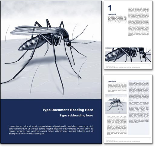 Royalty Free Malaria Microsoft Word Template In Blue