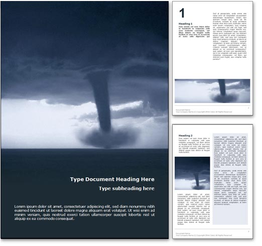 Royalty Free Tornado Microsoft Word Template In Blue