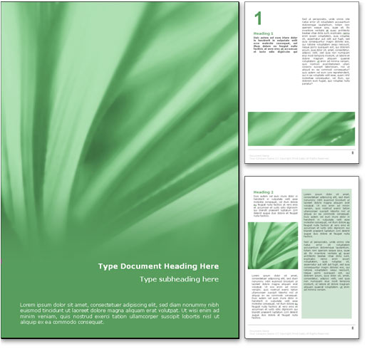 royalty free abstract leaves microsoft word template in green