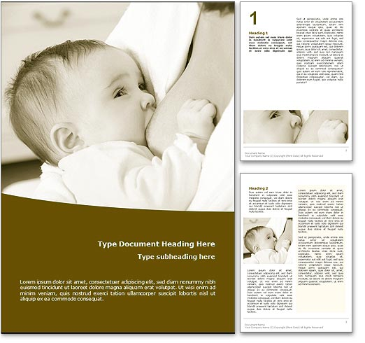 Royalty free breastfeeding microsoft word template in yellow for Breastfeeding brochure templates