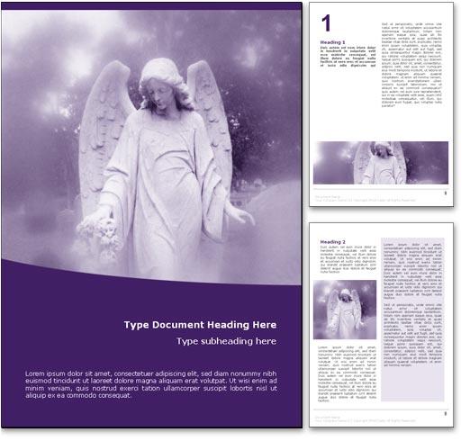 royalty free angel microsoft word template in purple
