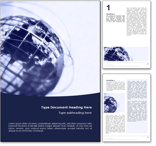 Royalty free world globe microsoft word template in blue for Word doc brochure template