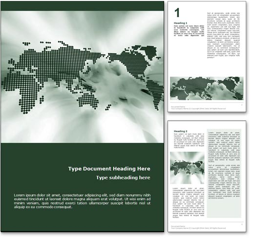 Perfect The World Map Word Template In Green For Microsoft Word.