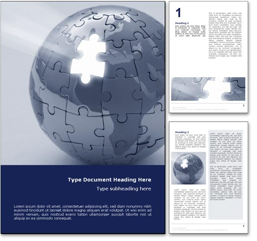 Site Map Template Word: Royalty Free World Puzzle Microsoft Word Template In Blue