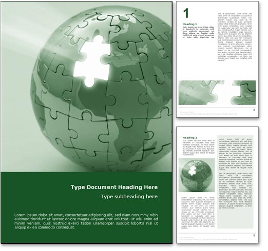 Website Map Template: Royalty Free World Puzzle Microsoft Word Template In Green