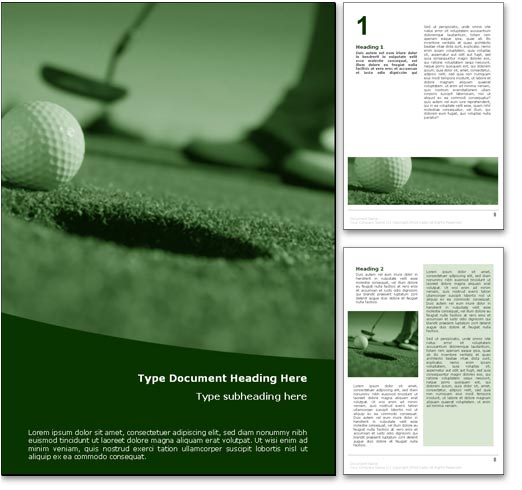 Royalty Free Perfect Golf Putt Microsoft Word Template In Green