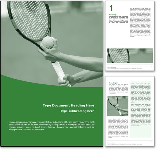 royalty free tennis microsoft word template in green