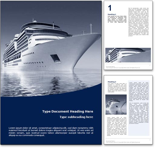 royalty free cruise microsoft word template in blue