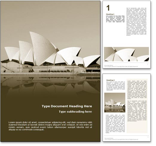 Sydney Opera House Australia word template document